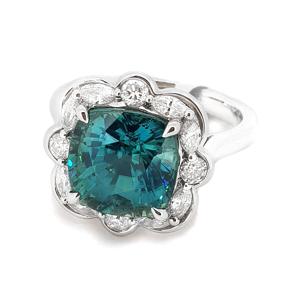 Natural, Teal Green, Cushion Cut Zircon surrounded by Marquise and Brilliant cut Diamonds