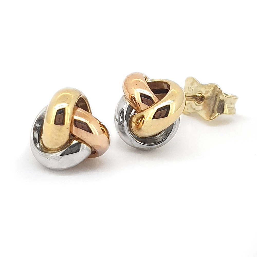 3-tone knot earrings