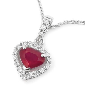 Burmese Ruby and Diamond Heart