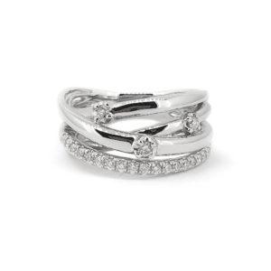 Diamond cross-over Ring