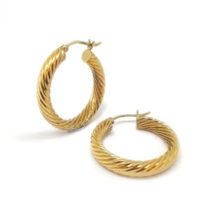 Stylish Yellow Gold Hoop Earrings