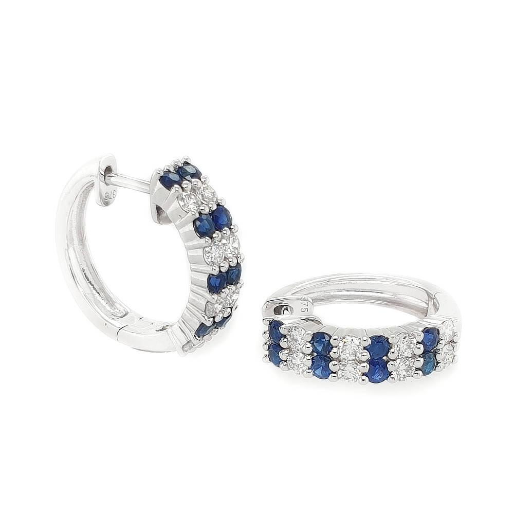 Double Row Sapphire and Diamond Huggies