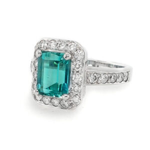 Mint Tourmaline and Diamond Ring
