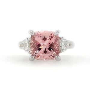 Morganite and Heart Diamond Ring