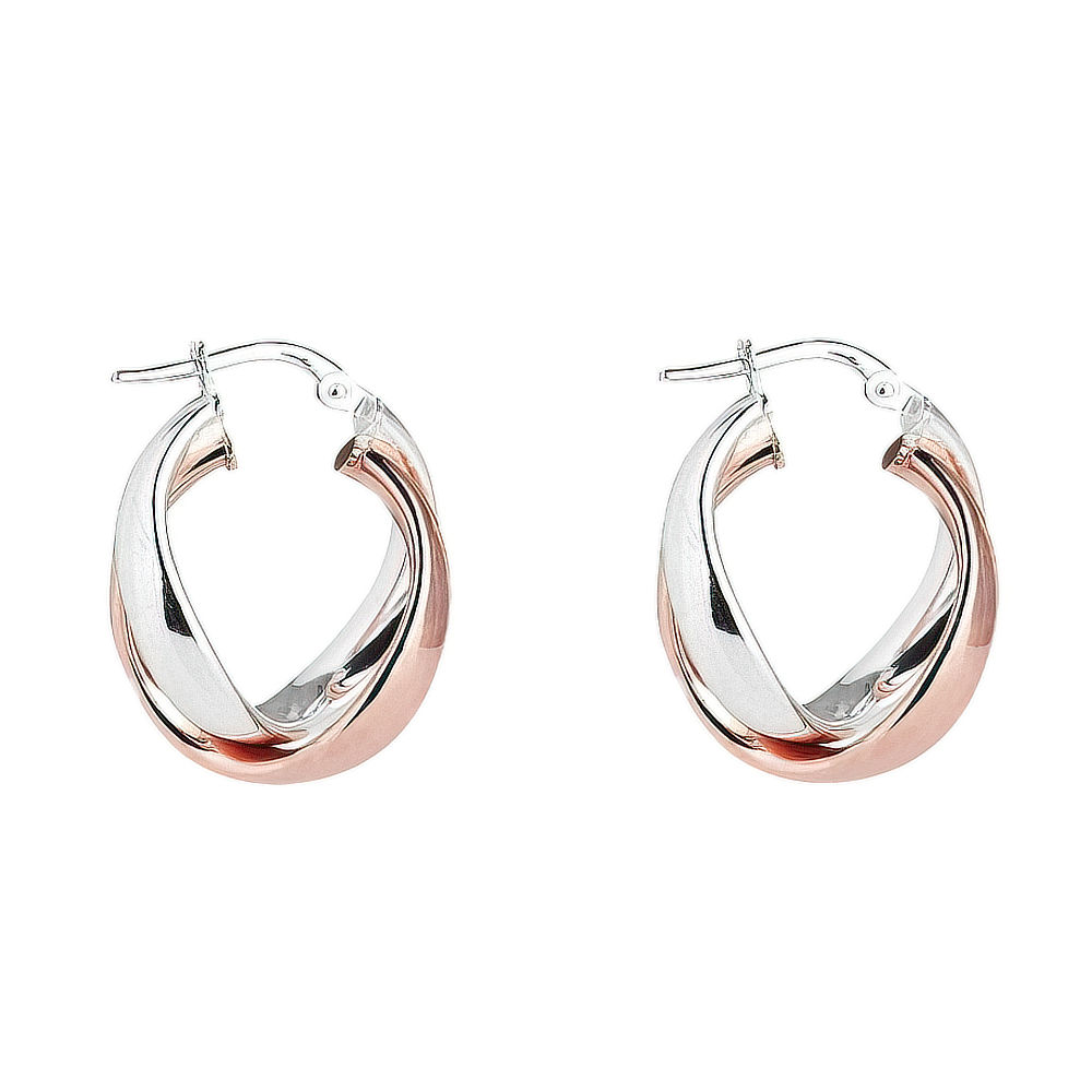 Silver and Rose Twist Earrings
